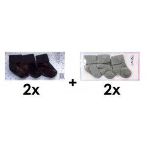 SET   2x Sokjes Zwart 3st. + 2x Sokjes Grijs Melange 3st.