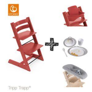 SET | Kinderstoel Stokke® Tripp Trapp® Warm Red met Newbornset & Babyset & Done by Deer Eetset
